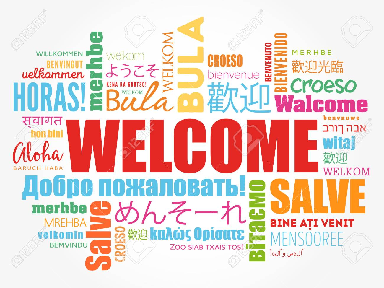 WELCOME word cloud in different languages, conceptual background - 80855181