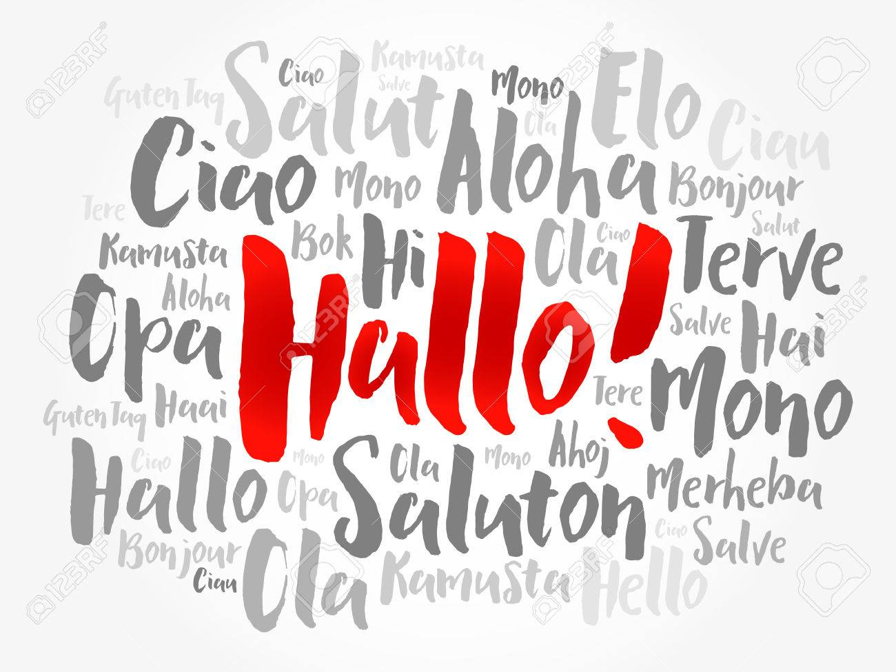 hallo hello greeting in german word cloud in different languages