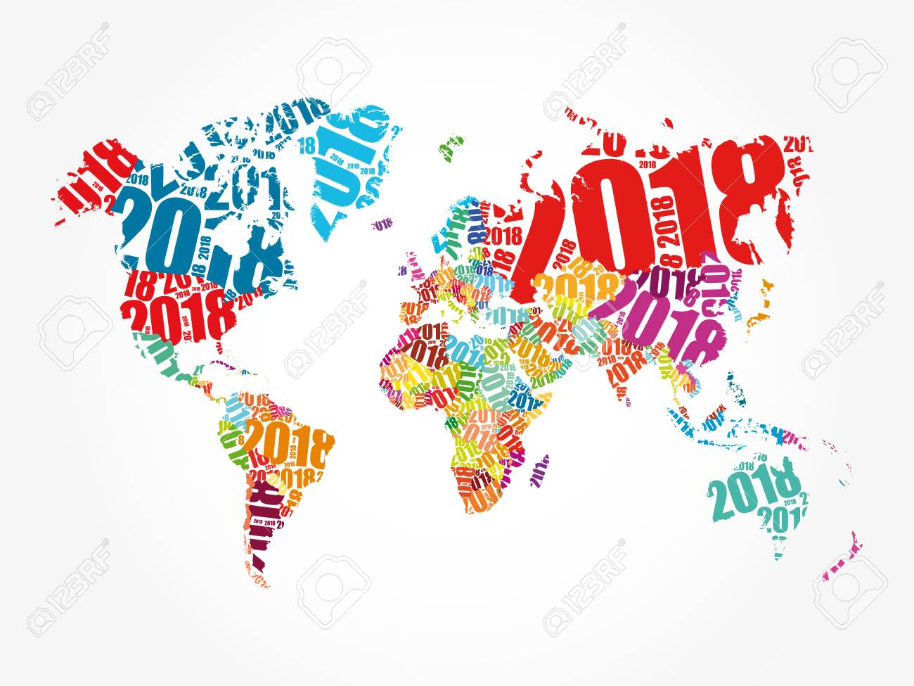 2018 happy new year in shape of world map typography word cloud collage concept
