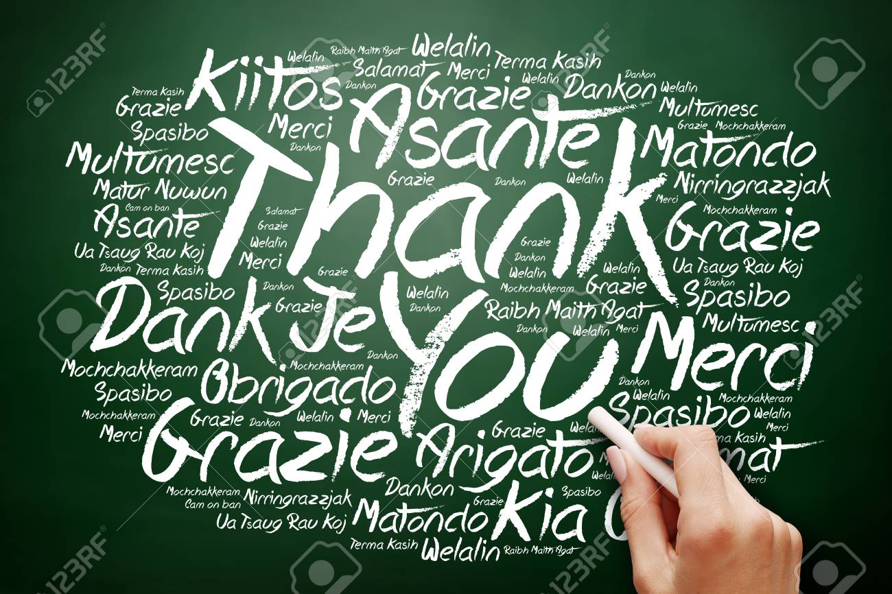 Hand Writing Thank You Word Cloud In Many Languages On Blackboard