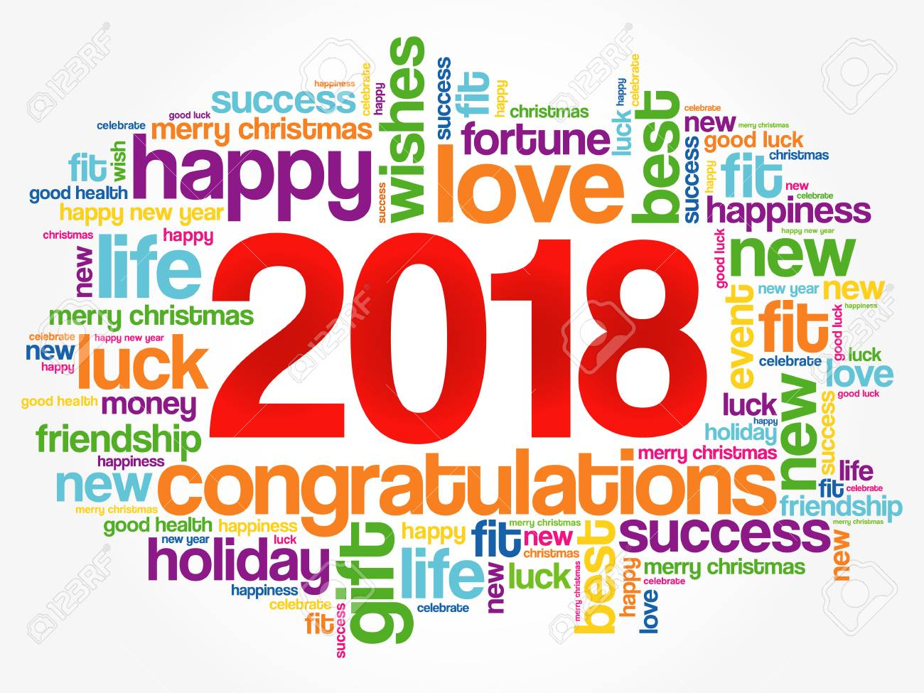 2018 year greeting word cloud collage, Happy New Year celebration greeting card - 88591299