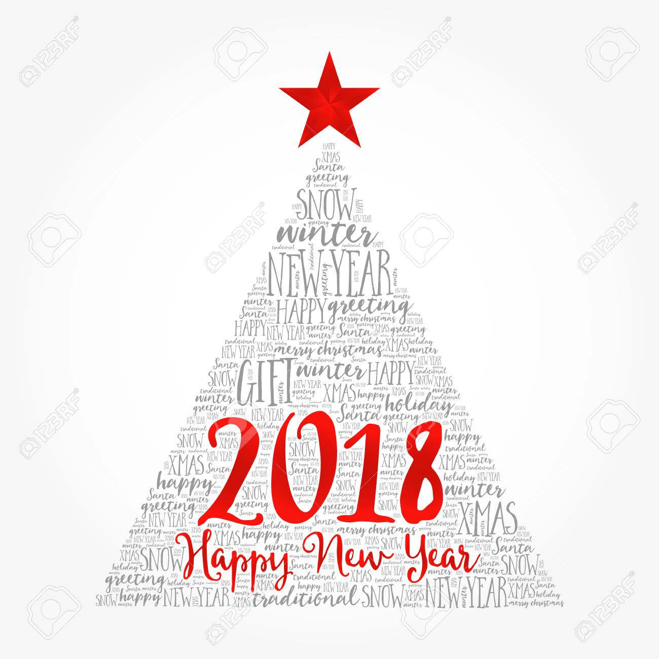 Happy New Year 2018, Christmas Word Cloud, Holidays Lettering ...