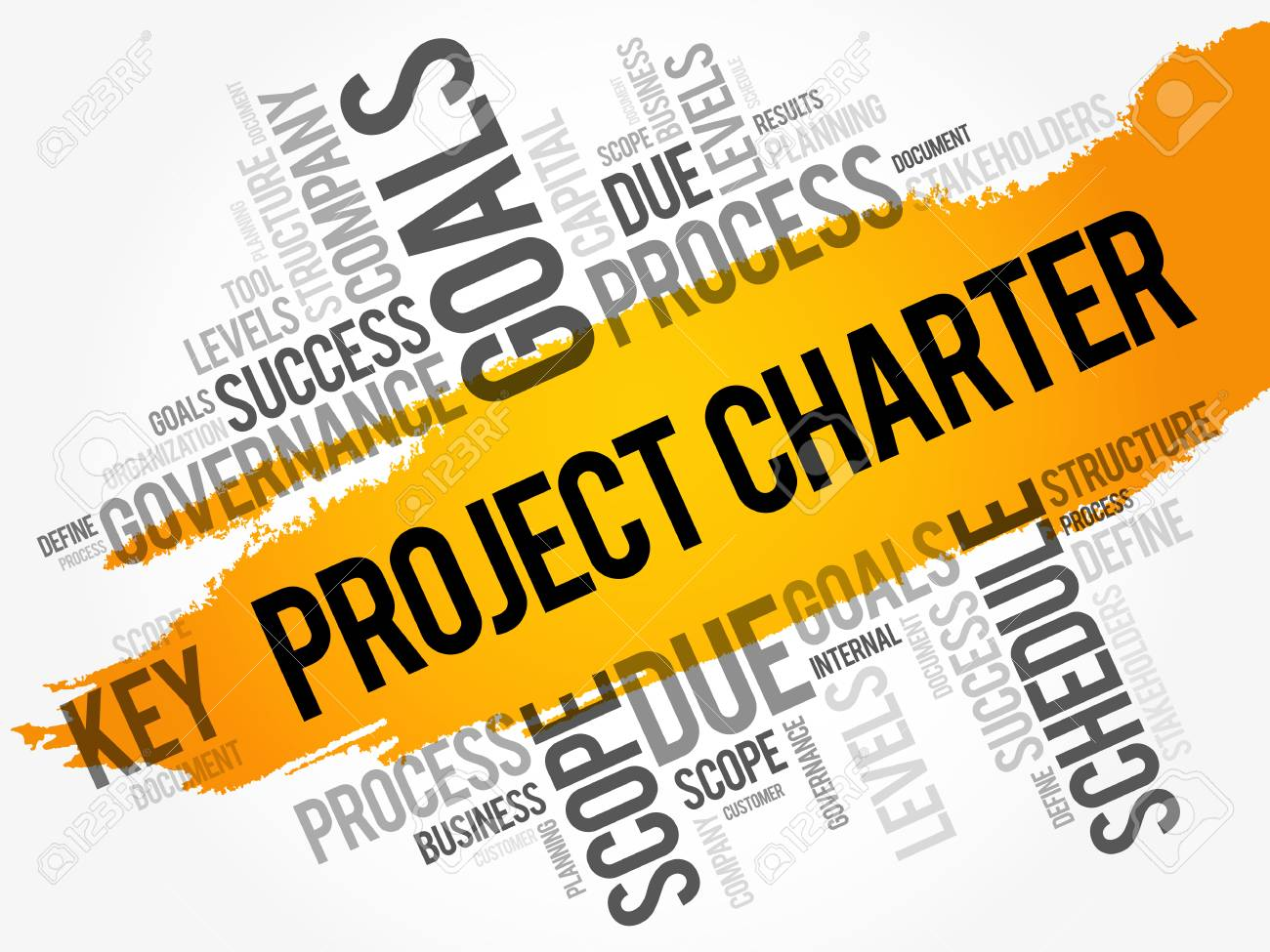 Project Charter word cloud collage, business terms such as method, process, leads concept background - 91111207