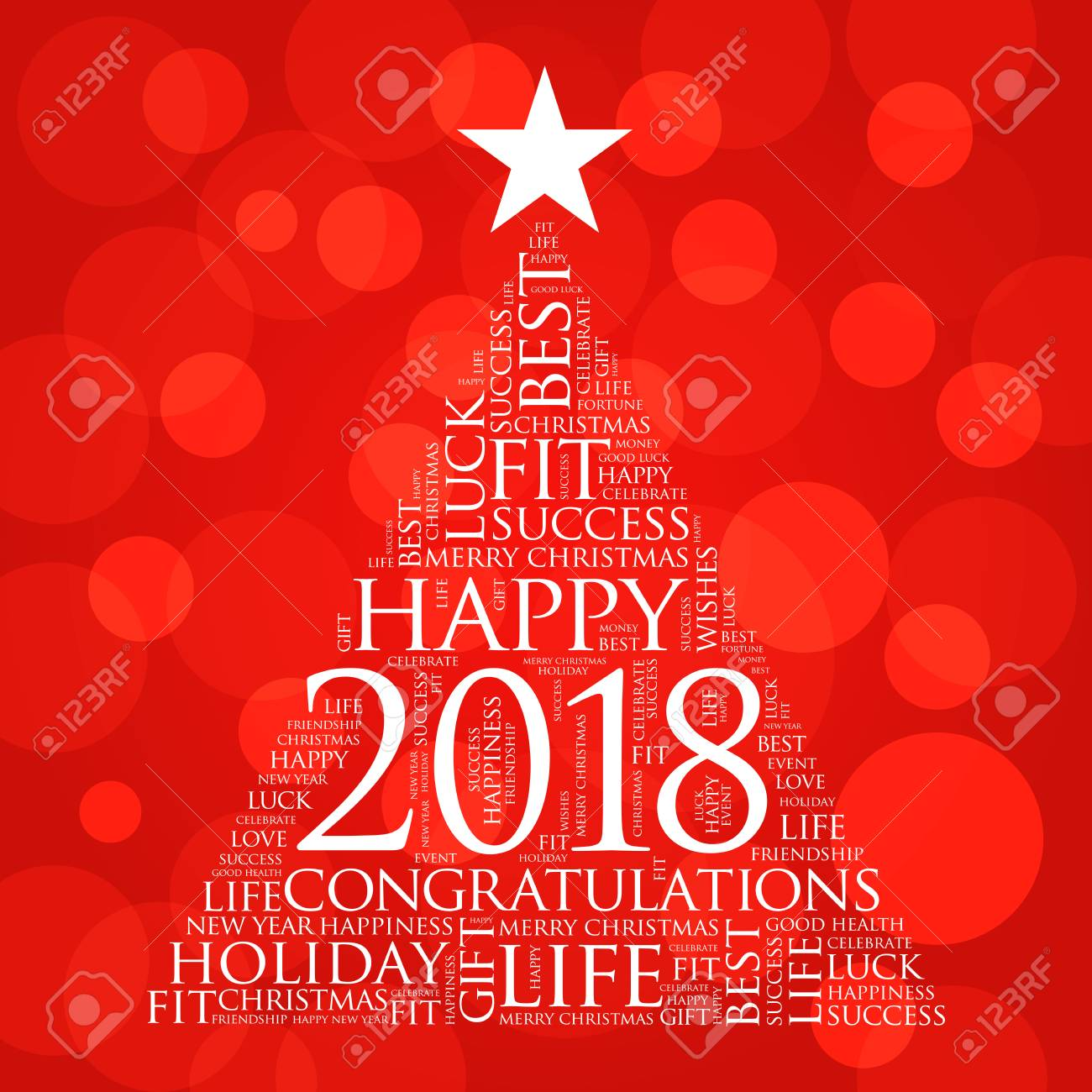 2018 year greeting word cloud collage happy new year celebration word cloud card in the