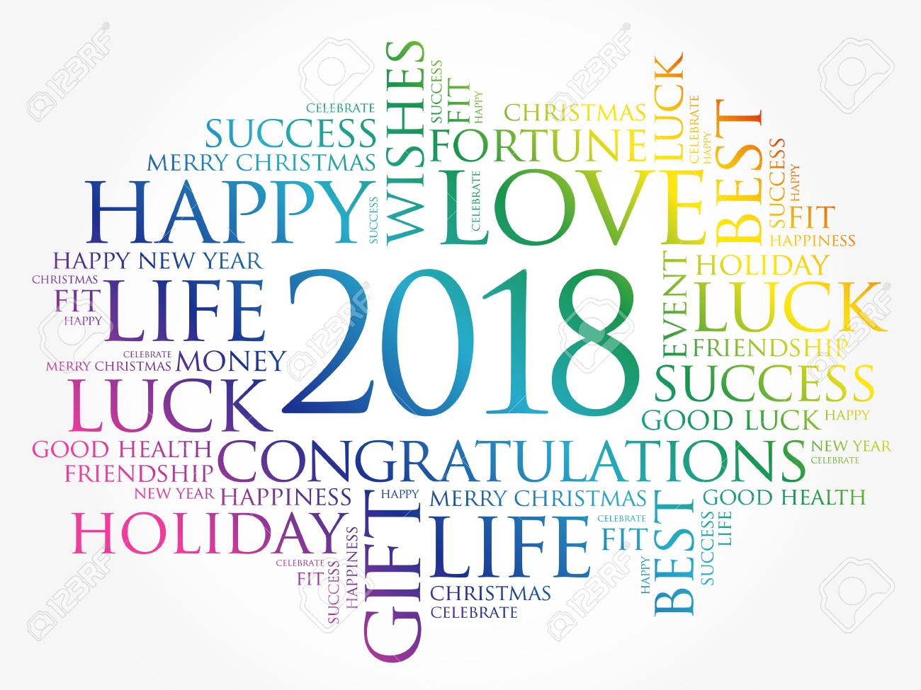 2018 year greeting word cloud collage happy new year celebration greeting card stock vector