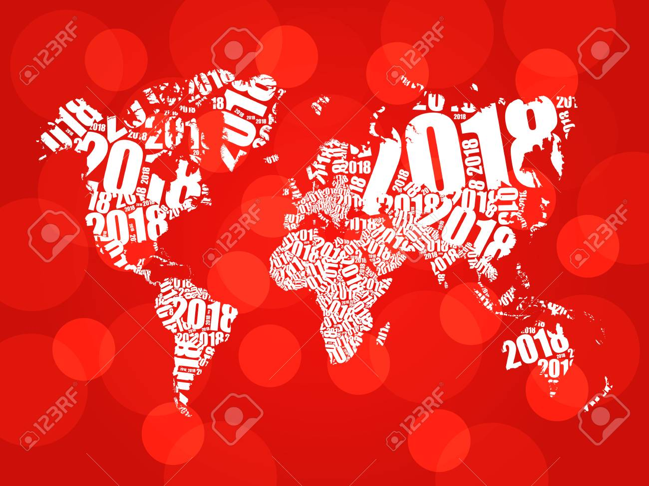 2018 happy new year in shape of world map typography word cloud 2018 happy new year in shape of world map typography word cloud collage concept gumiabroncs Images