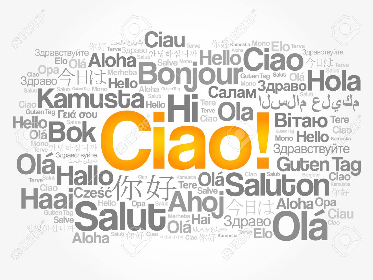 Ciao Hello Greeting In Italian Word Cloud In Different Languages
