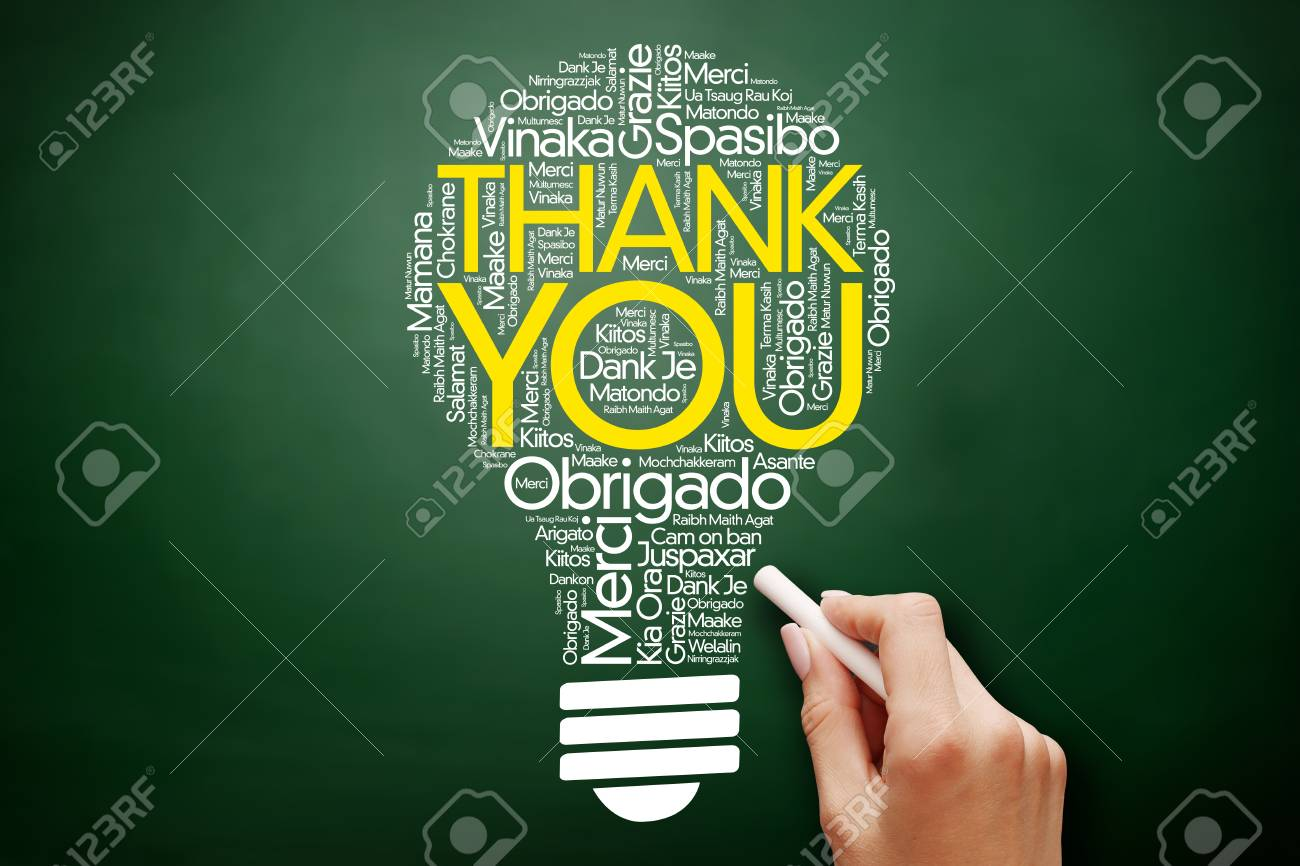 Hand Writing Thank You Word Cloud Bulb In Many Languages On