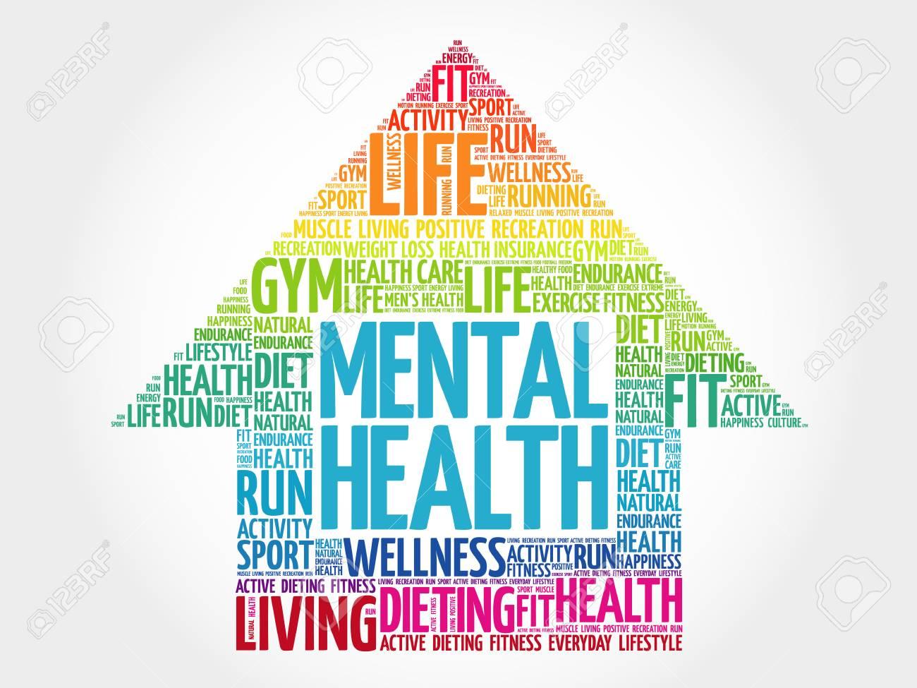 Mental health arrow word cloud, health concept - 92686144