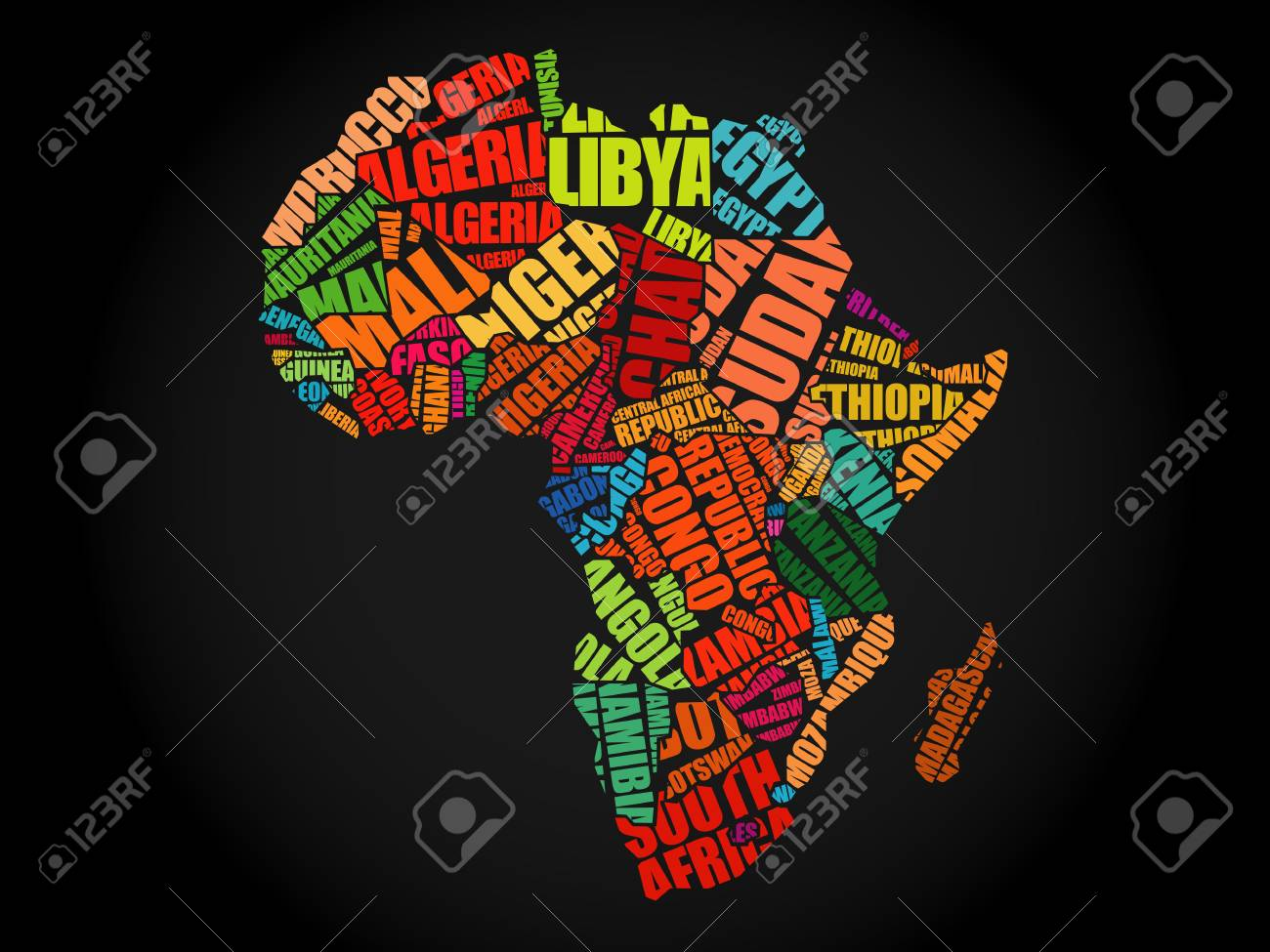 African Countries Map In Typography Word Cloud Concept, Names ...