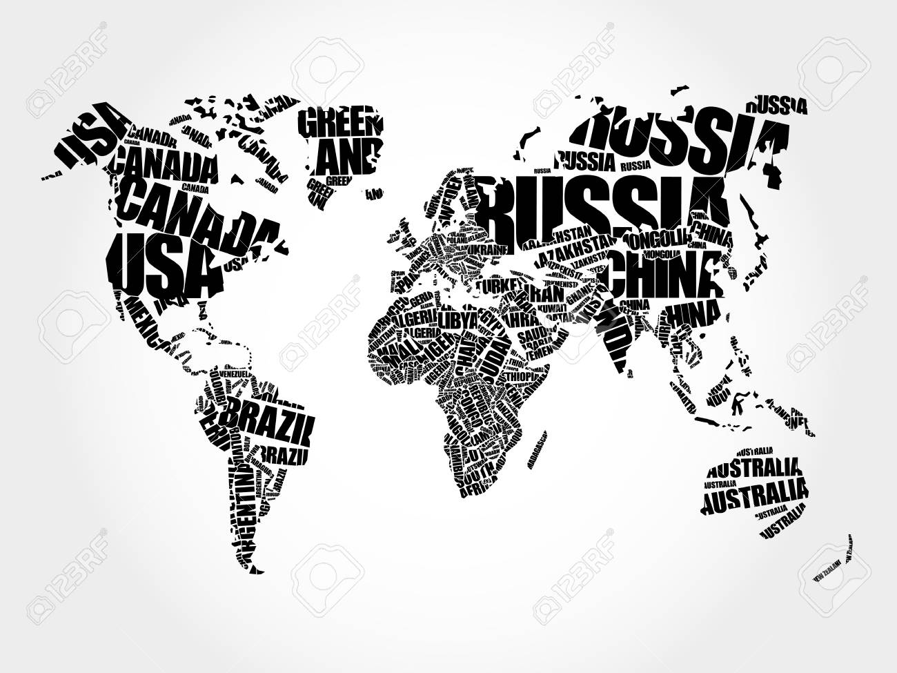 World map in typography word cloud names of countries education vector world map in typography word cloud names of countries education business concept gumiabroncs Image collections