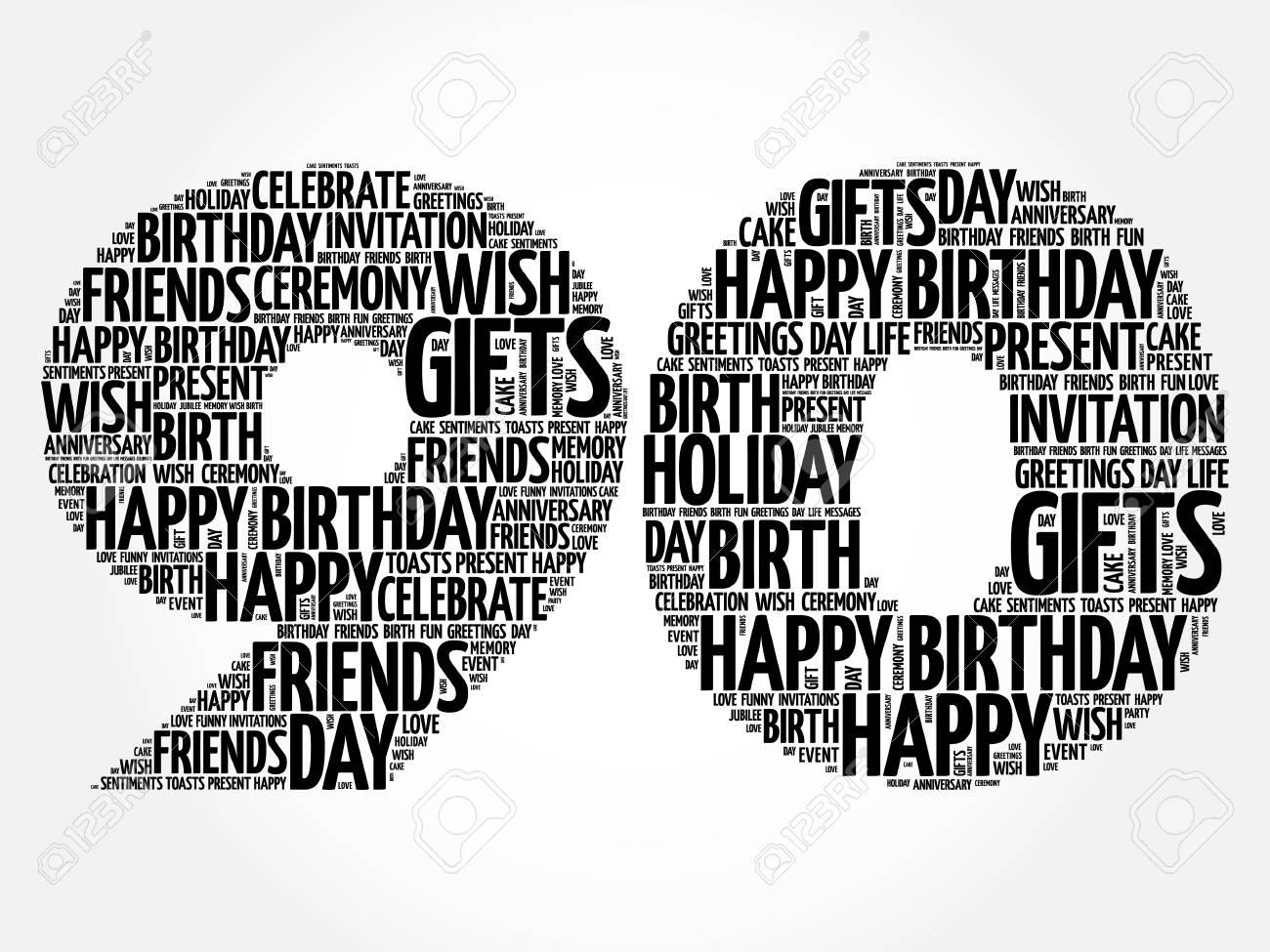 Happy 90th Birthday Word Cloud Collage Concept Standard Bild
