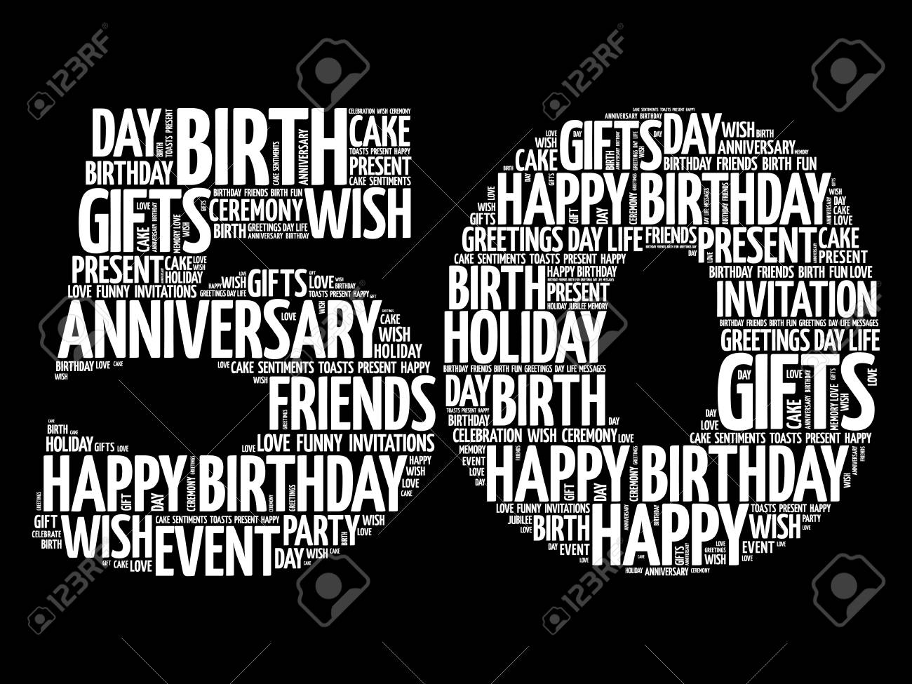 Happy 50th birthday word cloud collage concept - 109811144