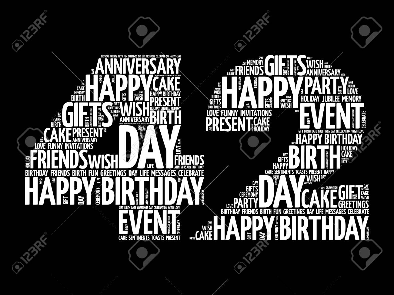 Happy 42nd Birthday Word Cloud Collage Concept Royalty Free Cliparts