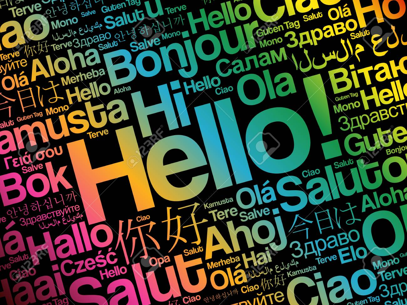 Hello word cloud in different languages of the world, background concept - 109811189