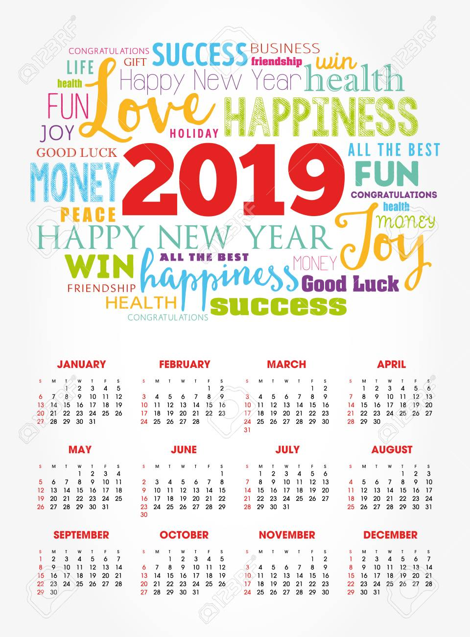 Calendar for 2019 year, greeting word cloud collage, Happy New