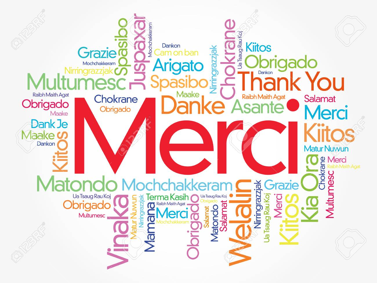 Merci (Thank You in French) Word Cloud background, all languages,
