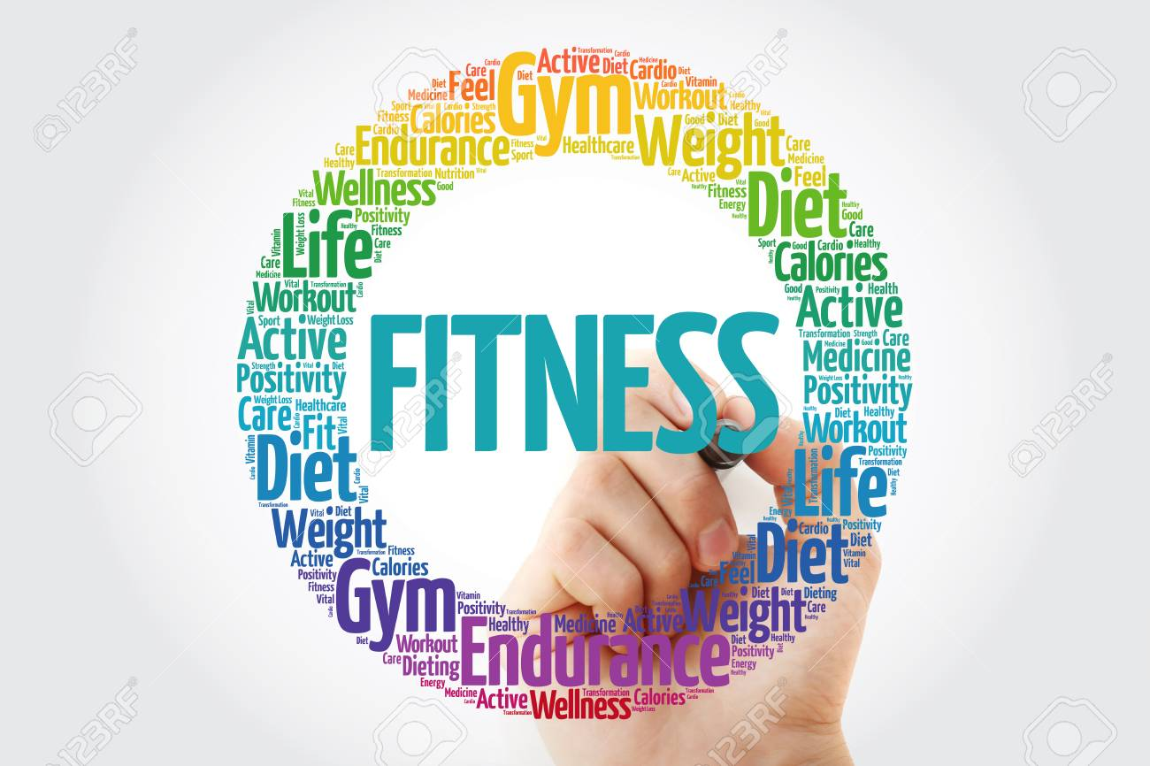 FITNESS circle stamp word cloud with marker, fitness, sport,