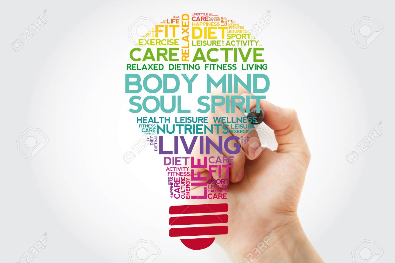 Body Mind Soul Spirit bulb word cloud collage with marker, health