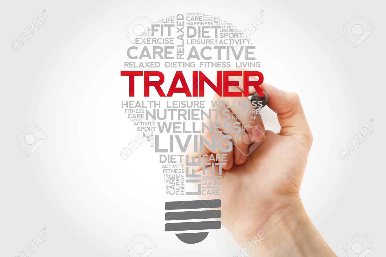 TRAINER bulb word cloud collage with marker, health concept background