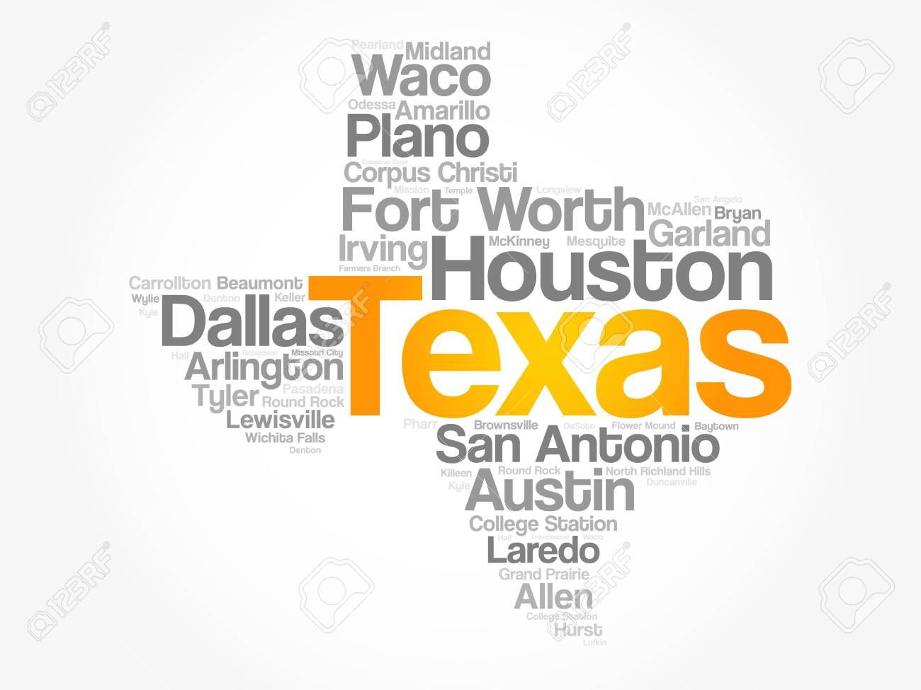 List Of Cities In Texas USA State Word Cloud Map, Concept Background Cities In Texas Map on