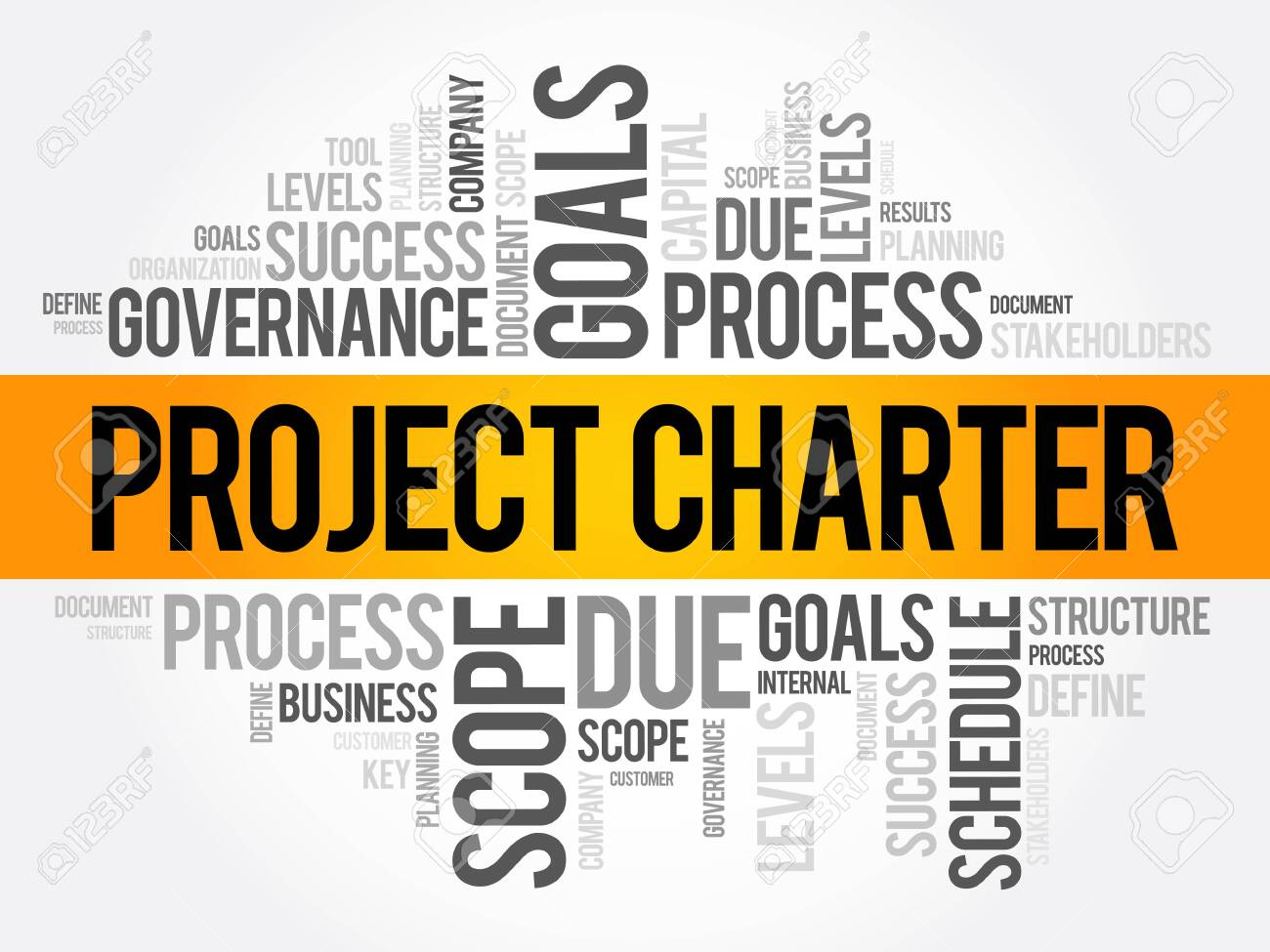Project Charter word cloud collage, business terms such as method, process, leads concept background - 123503115