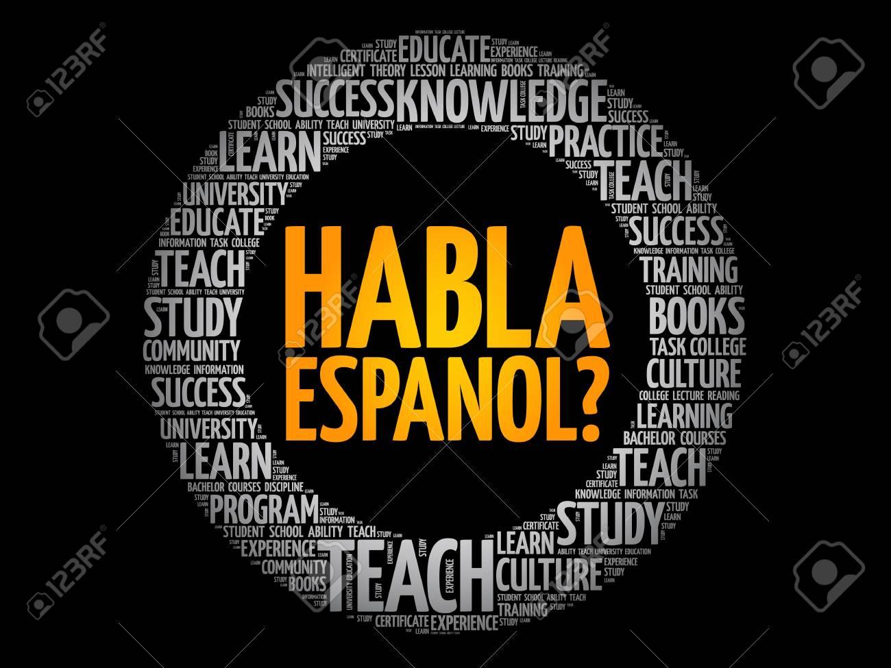 Habla Espanol? (Speak Spanish?) word cloud, education business concept - 123436971