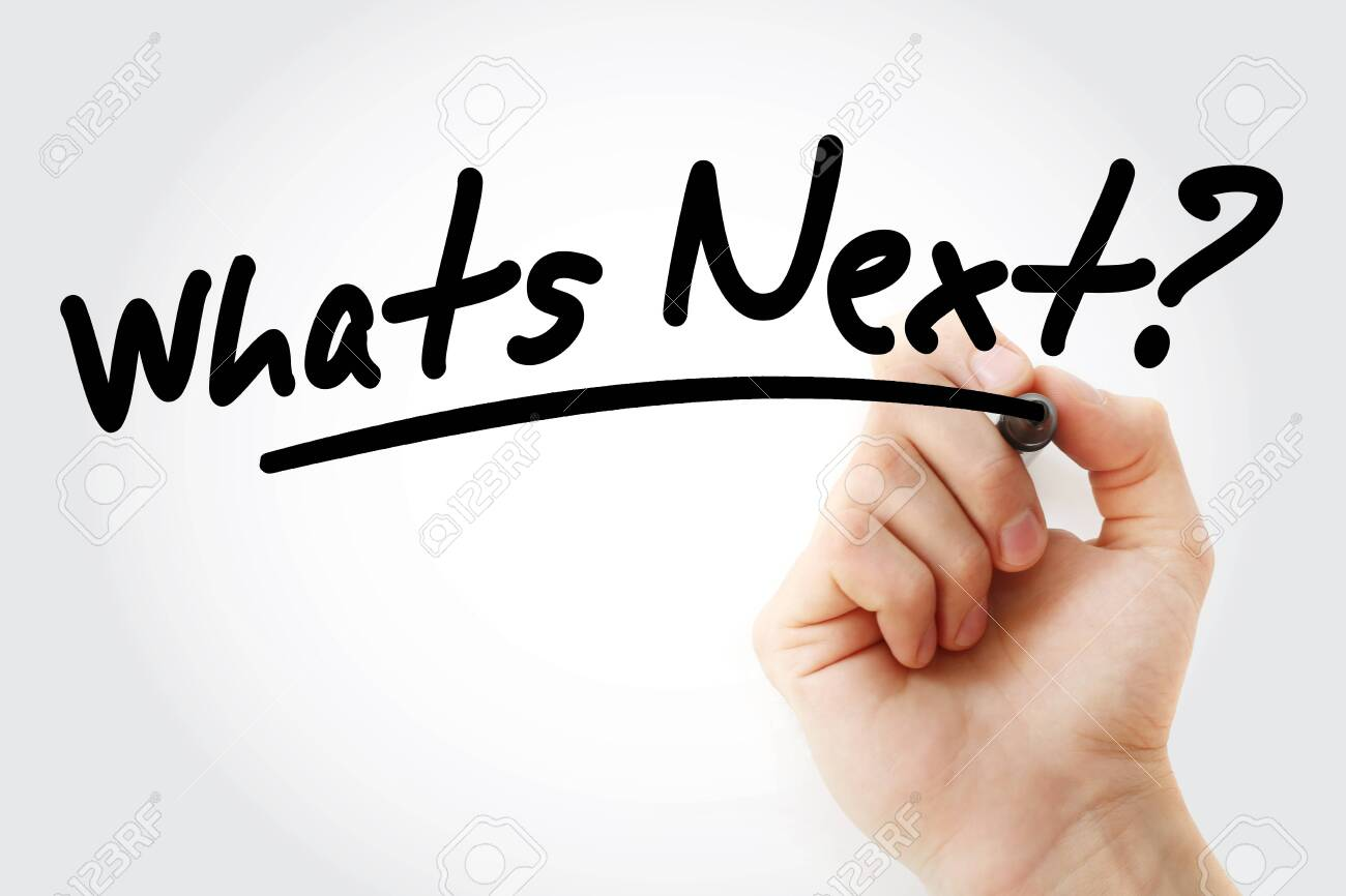 Hand writing Whats Next? with marker, concept background - 131671087