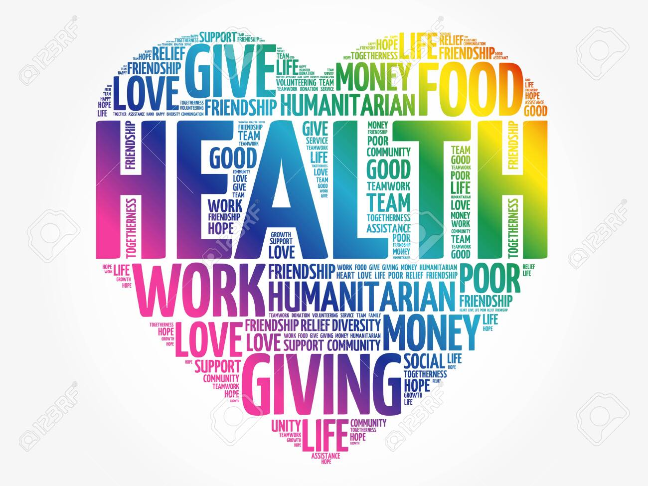 HEALTH heart word cloud collage, concept background - 143099119