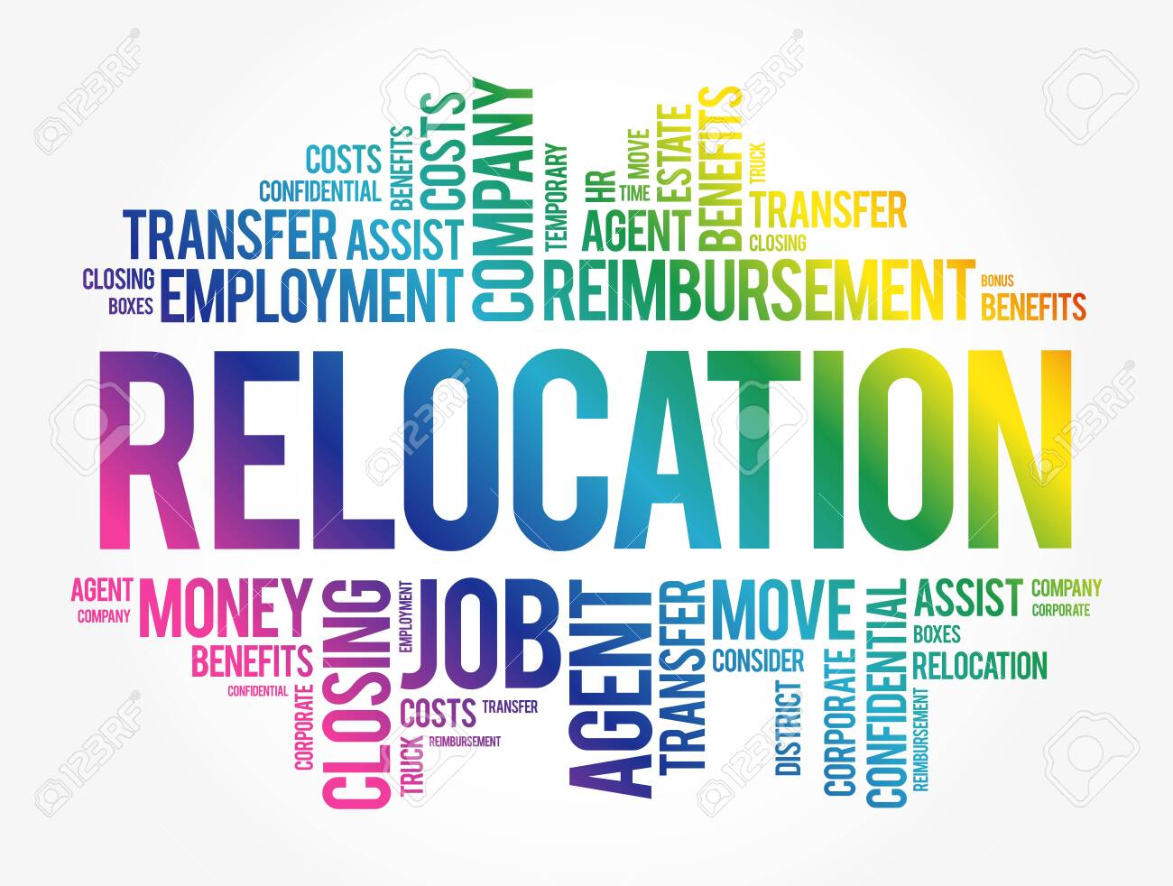 Relocation word cloud collage, business concept background - 143714262