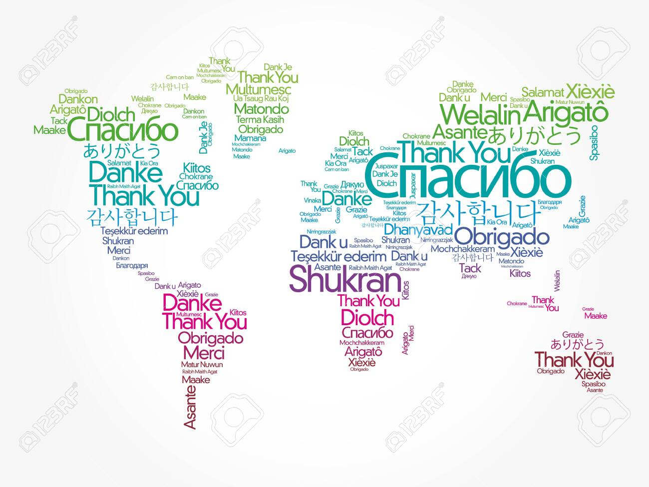 Thank You in different languages word cloud in shape of World Map, concept background - 145621059