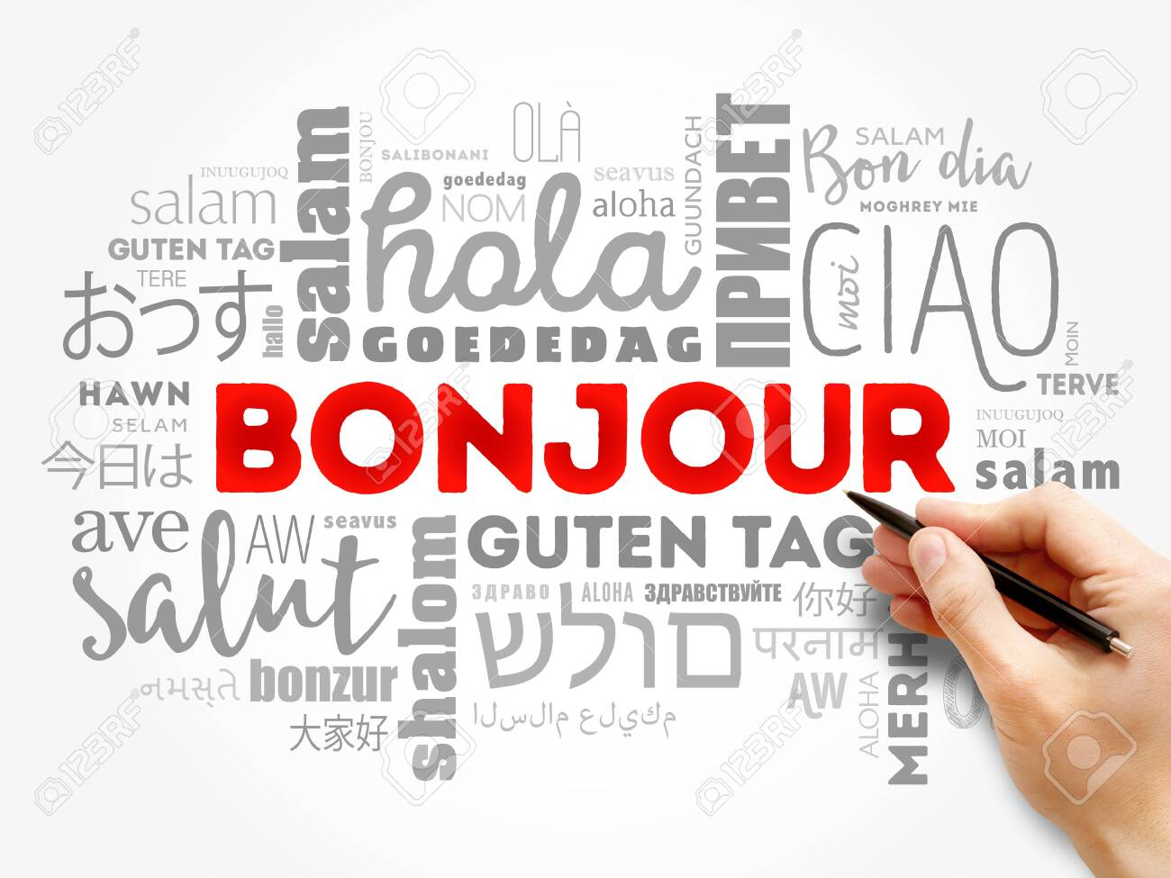 Bonjour (Hello Greeting in French) word cloud in different languages of the world, background concept - 147922338