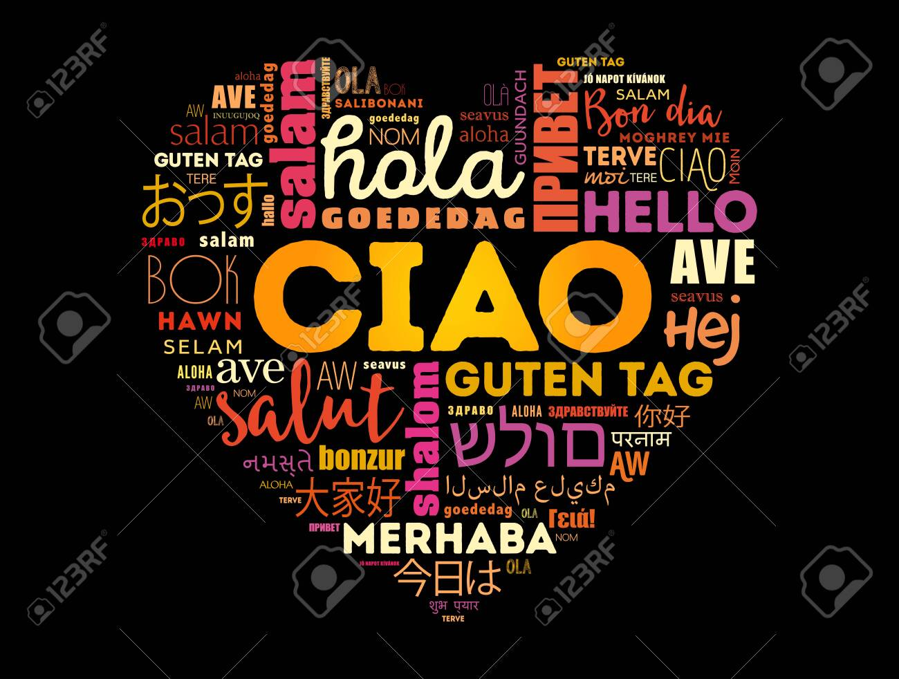 Ciao (Hello Greeting in Italian) heart word cloud in different languages of the world - 150336512