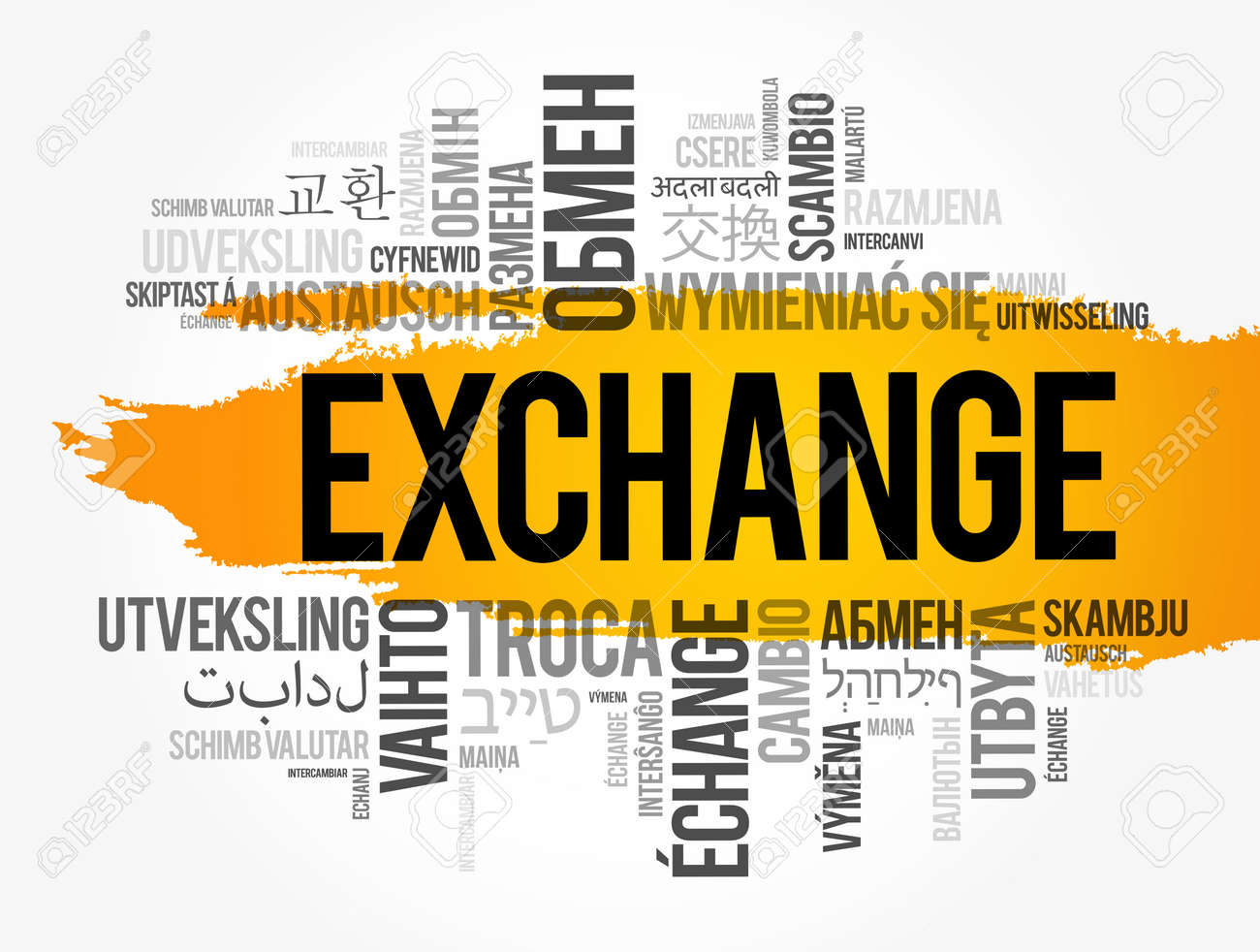 Exchange word cloud in different languages, business concept background - 157873396