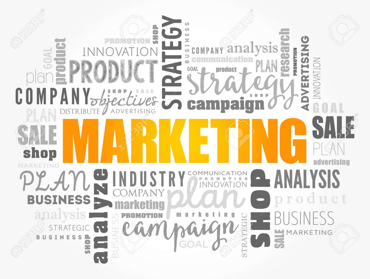Marketing word cloud collage, business concept background - 157875146
