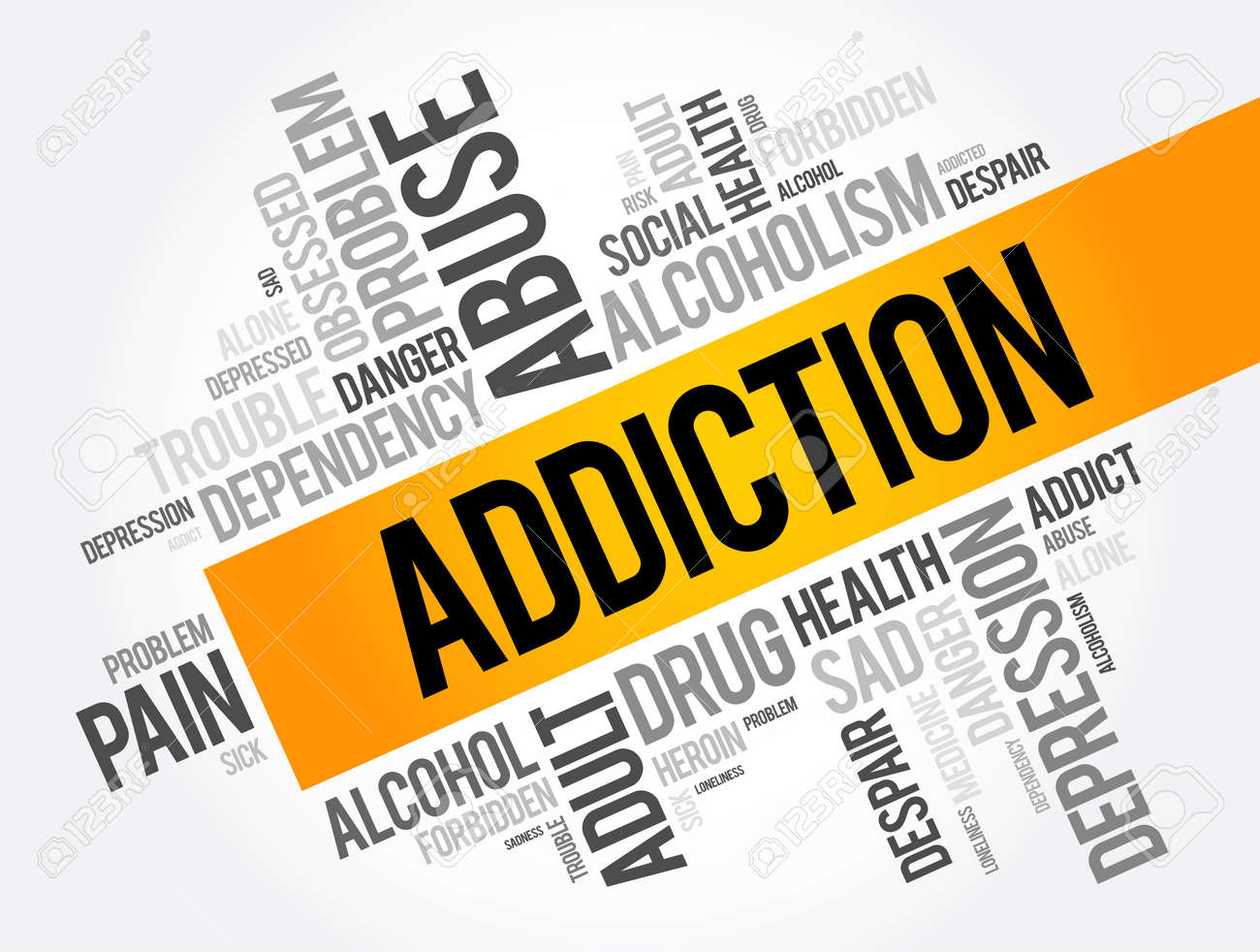 Addiction word cloud collage, health concept background - 157874886
