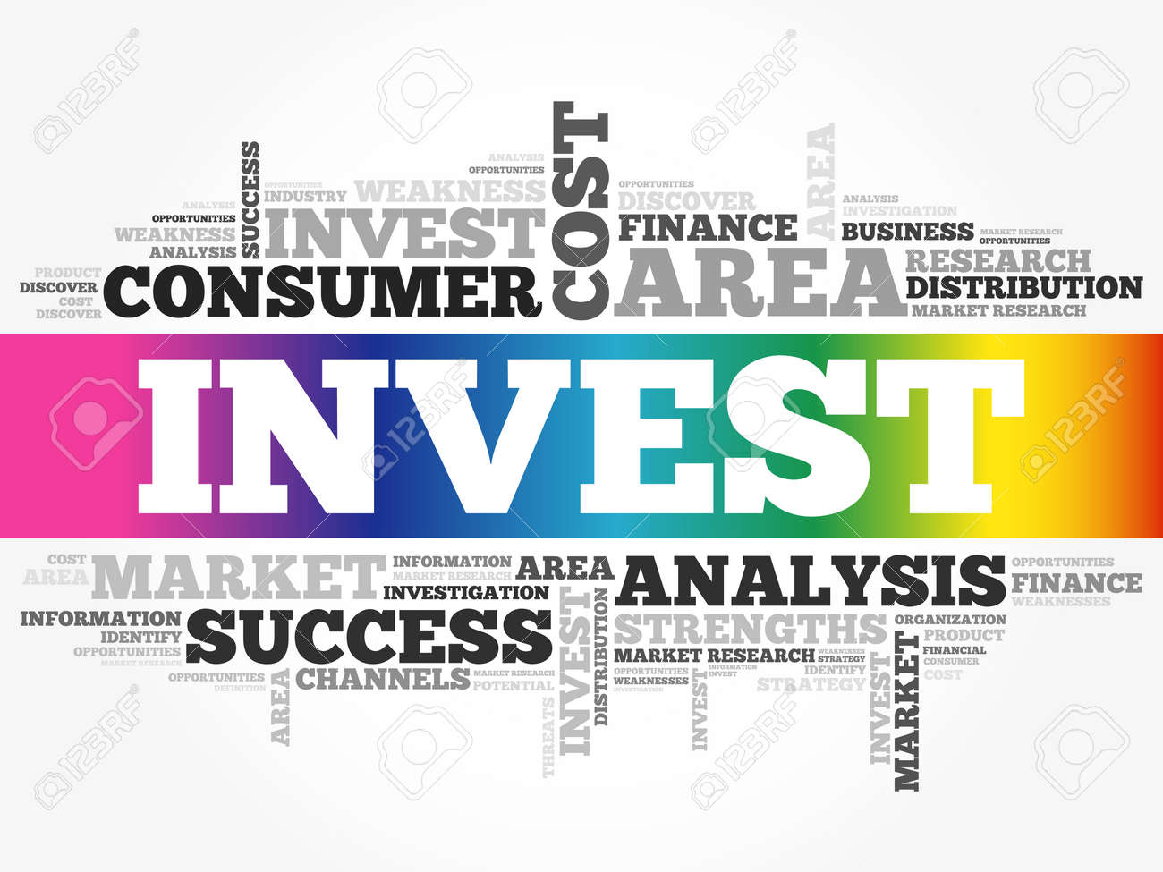 Invest word cloud collage, business concept background - 159683782