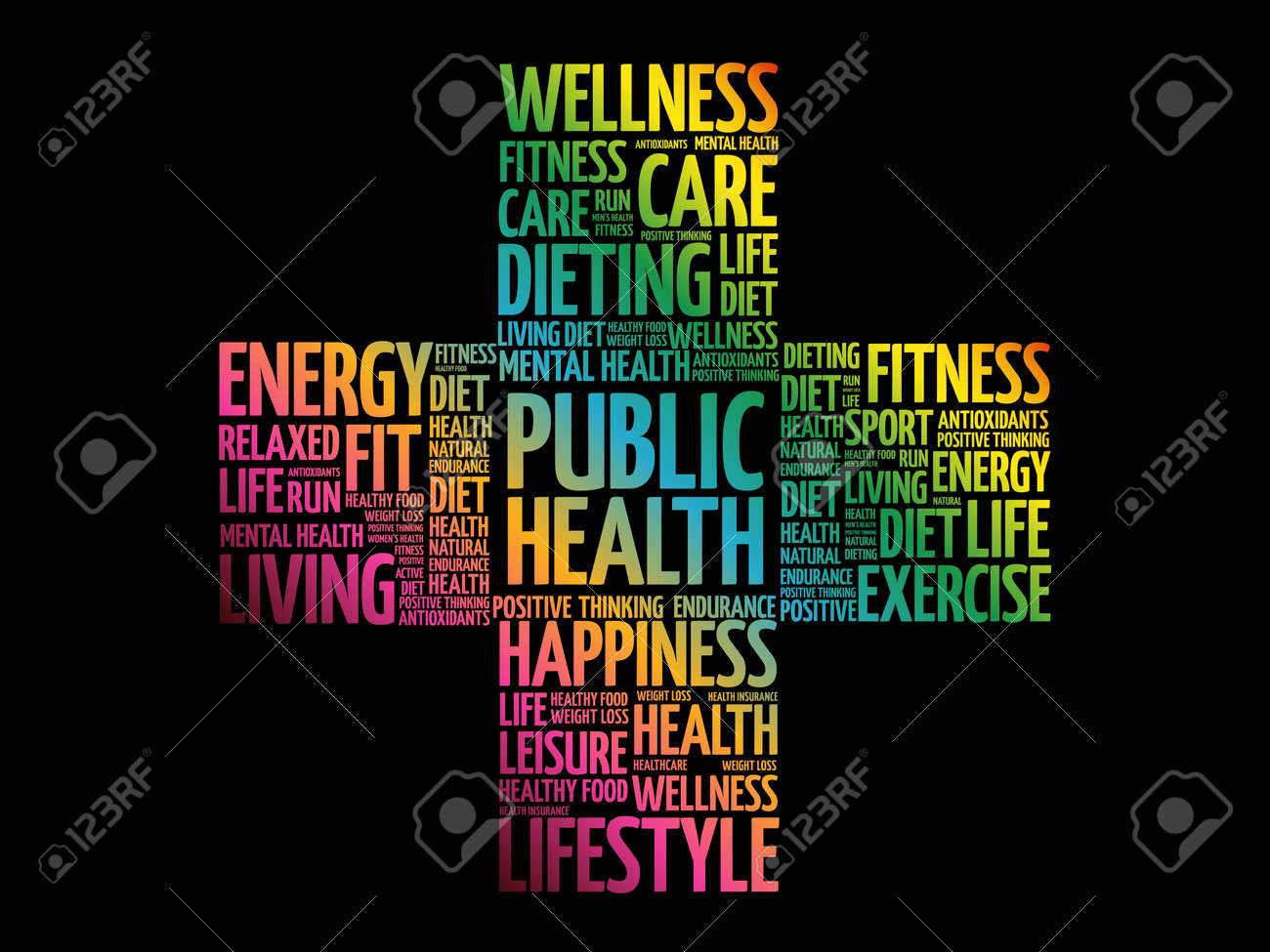 Public Health word cloud, health cross concept background - 159683850