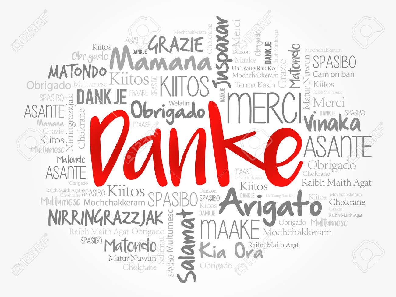 Danke (Thank You in German) word cloud background in different languages - 159683472