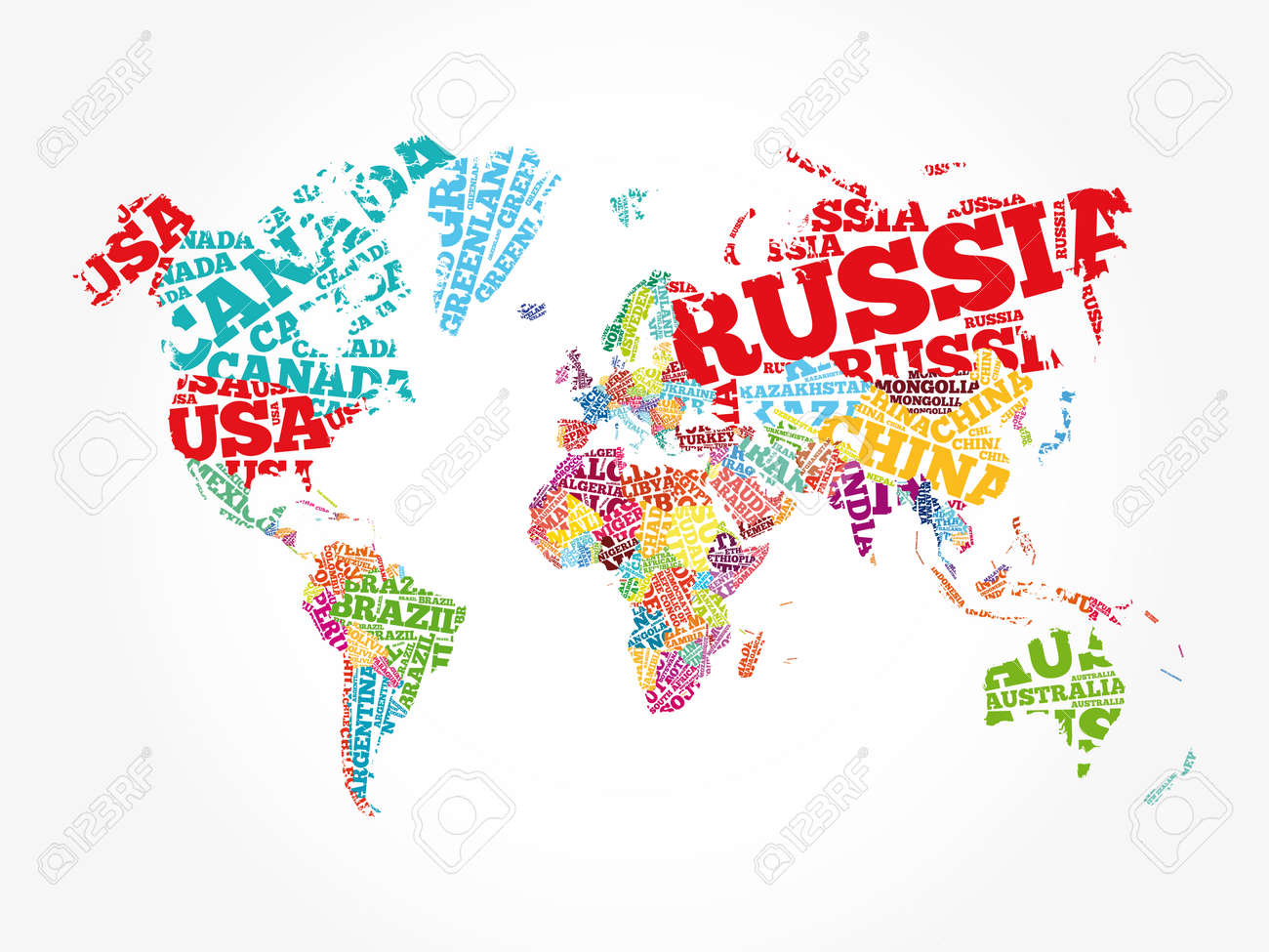 World Map in Typography word cloud concept, names of countries - 159734567