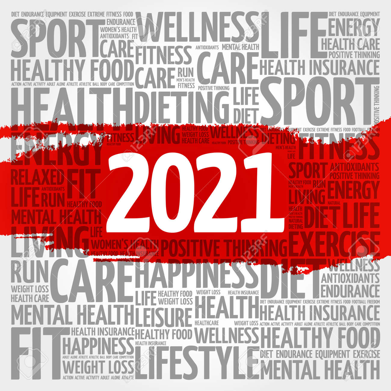 2021 health and sport goals word cloud, concept background - 159750900