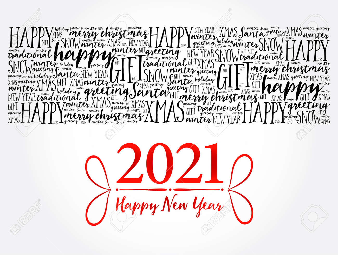 2021 Happy New Year. Christmas background word cloud, holidays lettering collage - 159750698
