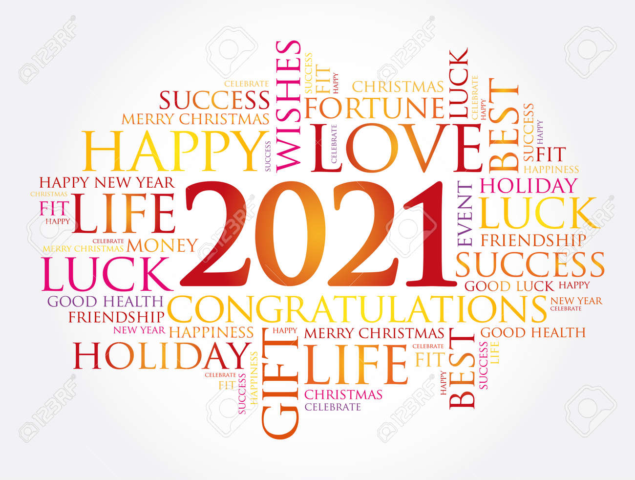 2021 year greeting word cloud collage, Happy New Year celebration greeting card - 159749770