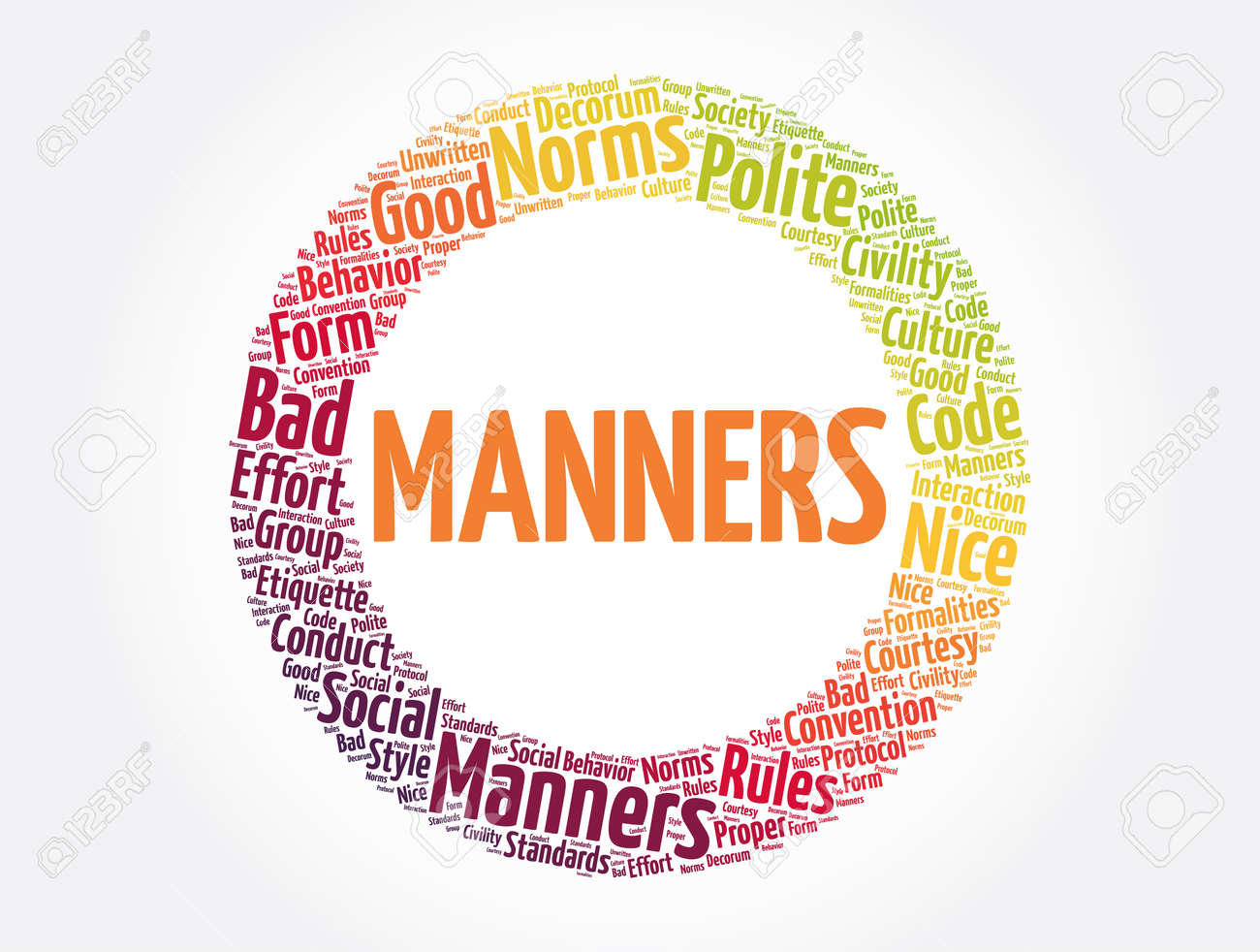 Manners word cloud collage, concept background - 166922383