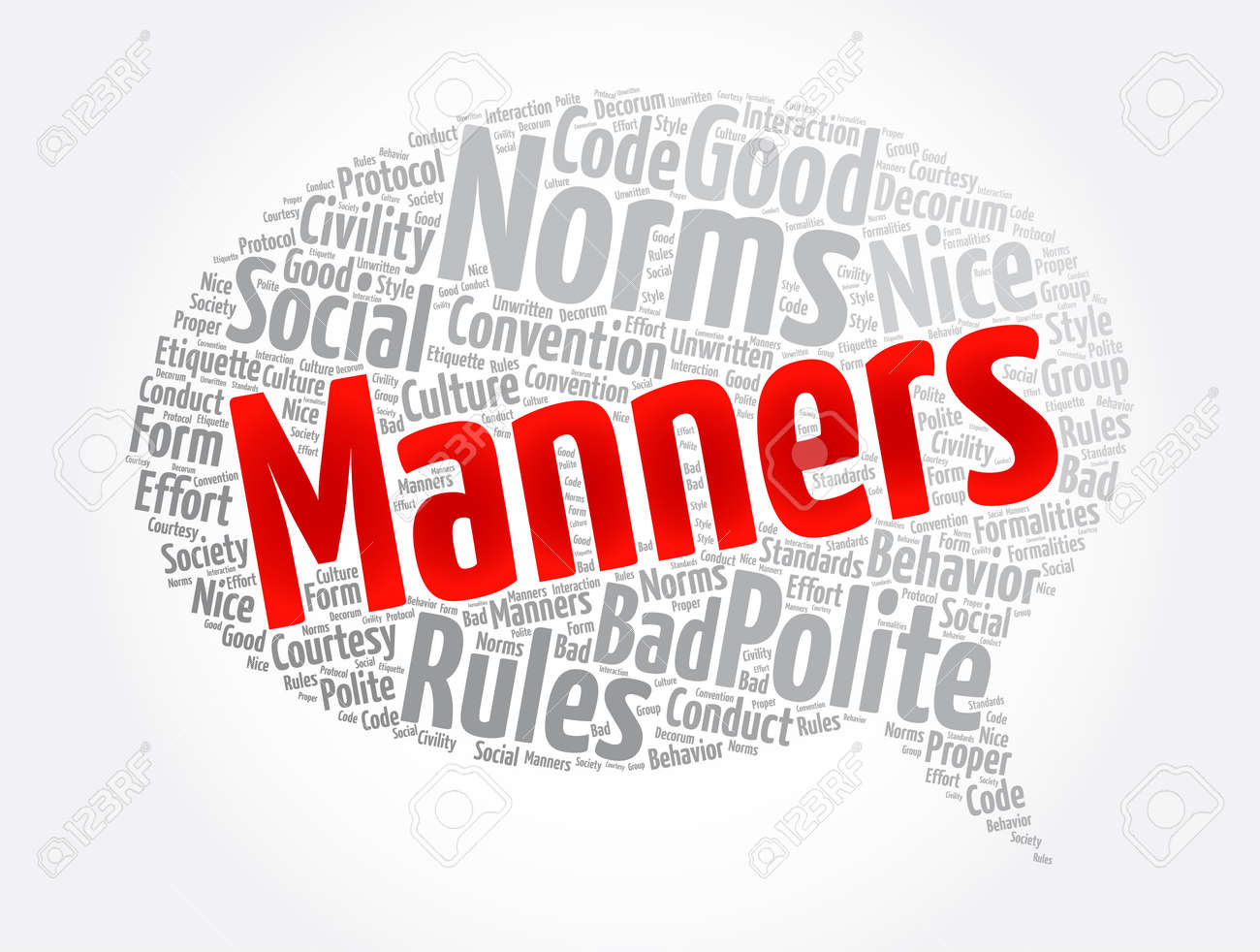 Manners message bubble word cloud collage, concept background - 166573624