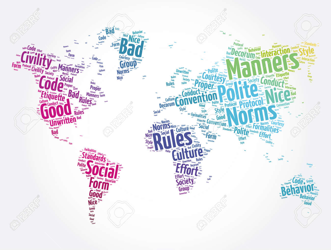Manners word cloud in shape of world map, concept background - 166922650