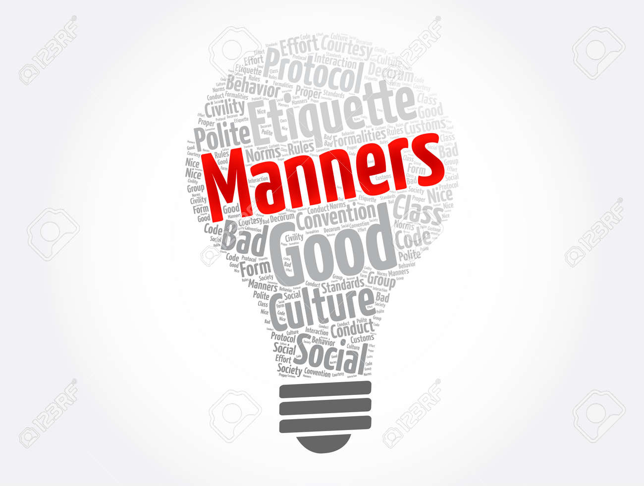 Manners word cloud collage, concept background - 166573599