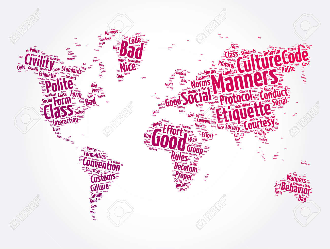 Manners word cloud in shape of world map, concept background - 166922820