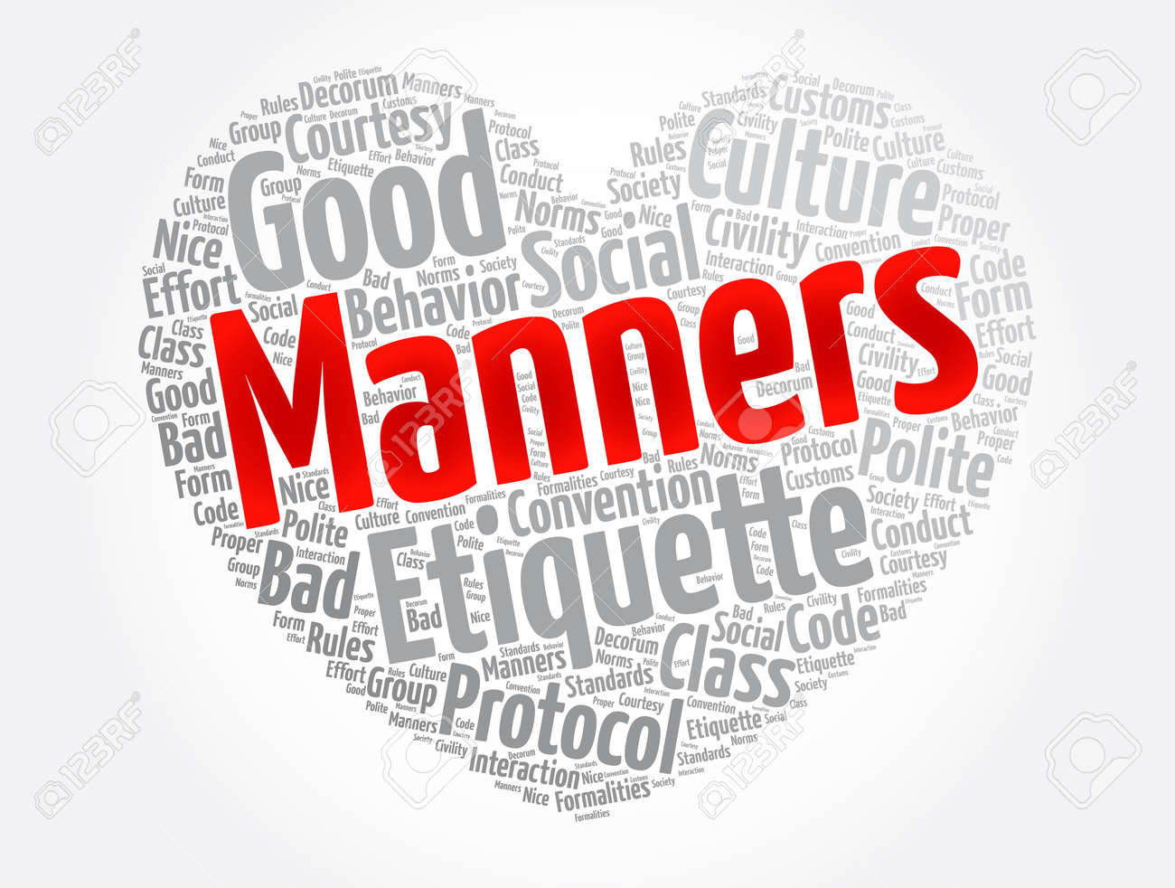 Manners heart word cloud collage, concept background - 166922821