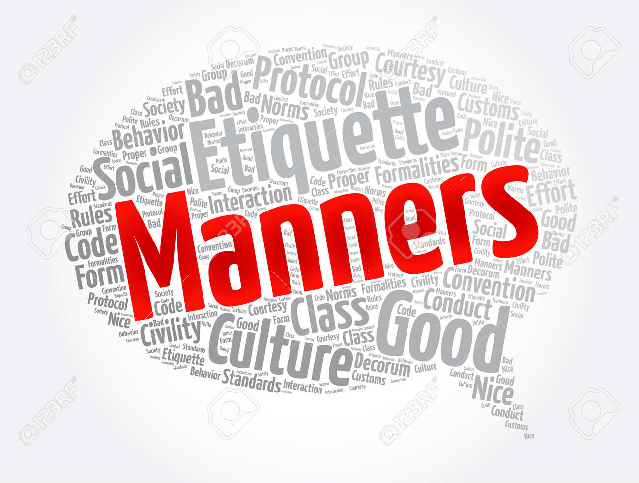 Manners message bubble word cloud collage, concept background - 166573674